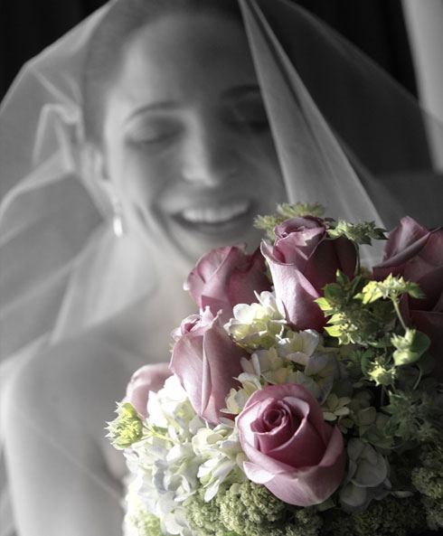 image of bride and bouquet